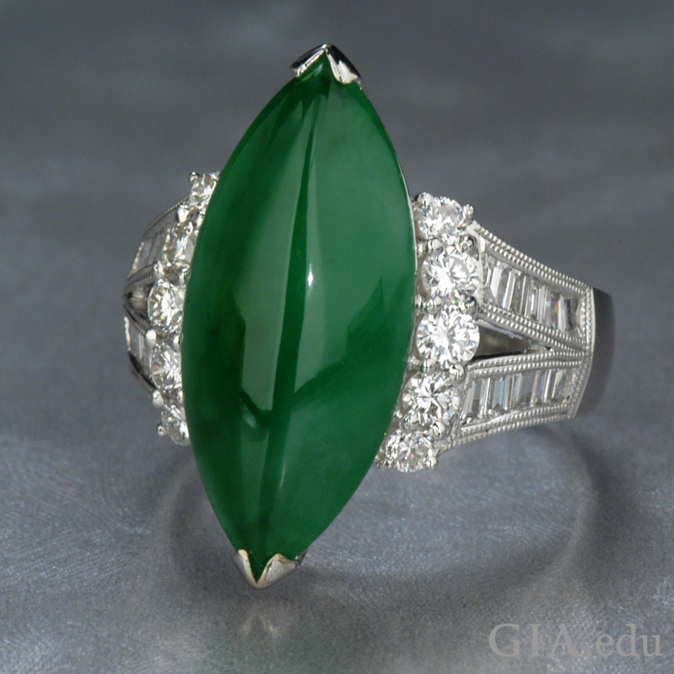 54.46 carat (ct) jadeite and diamond ring