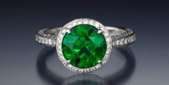 3.20 ct demantoid garnet and diamond ring