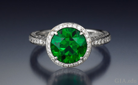 3.20 ct demantoid garnet and diamond ring