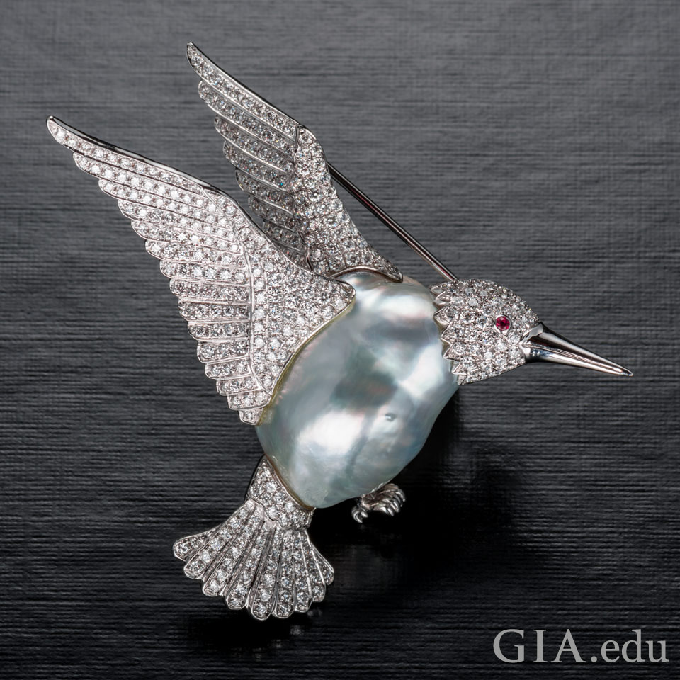 3rd wedding anniversary gemstone: pearl hummingbird brooch