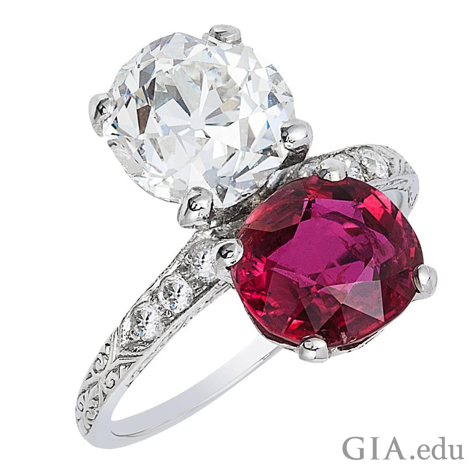 Toi et moi ring with 3.01 ct ruby and 3.03 ct diamond