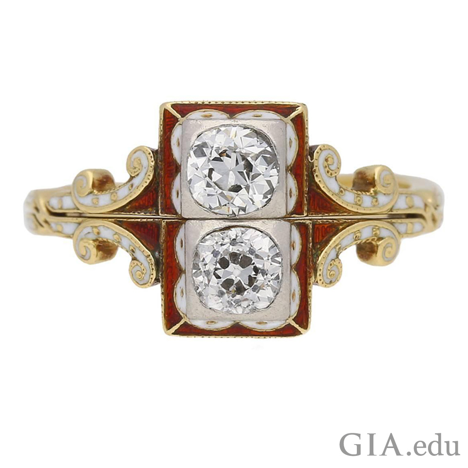 Antique engagement ring called a gimmel ring set with two diamonds