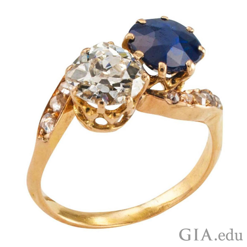 Blue sapphire and diamond antique engagement ring from the Victorian era