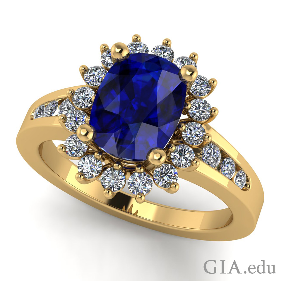 Engagement ring with sapphire center and round brilliant cut diamonds