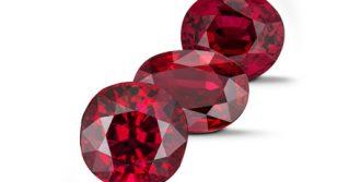 Three ruby gemstones