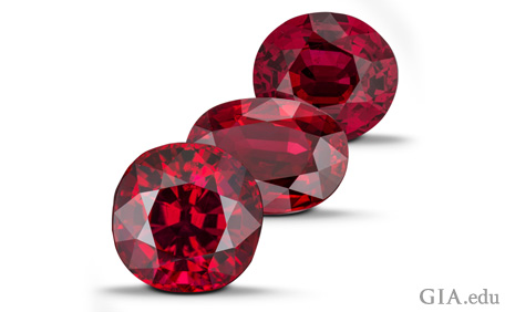 Three ruby gemstones