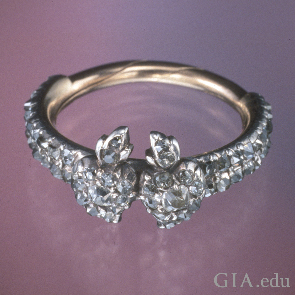 Example of antique engagement ring - diamond, silver and gold gimmel ring