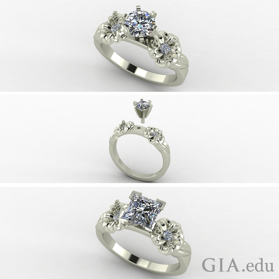Three diamond engagement rings with different styles
