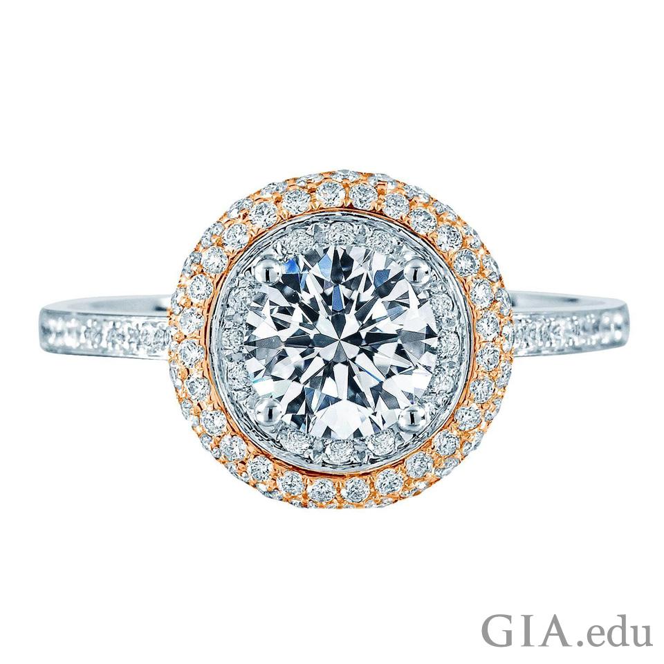 パヴェ セットのヘイロー ダイヤモンド