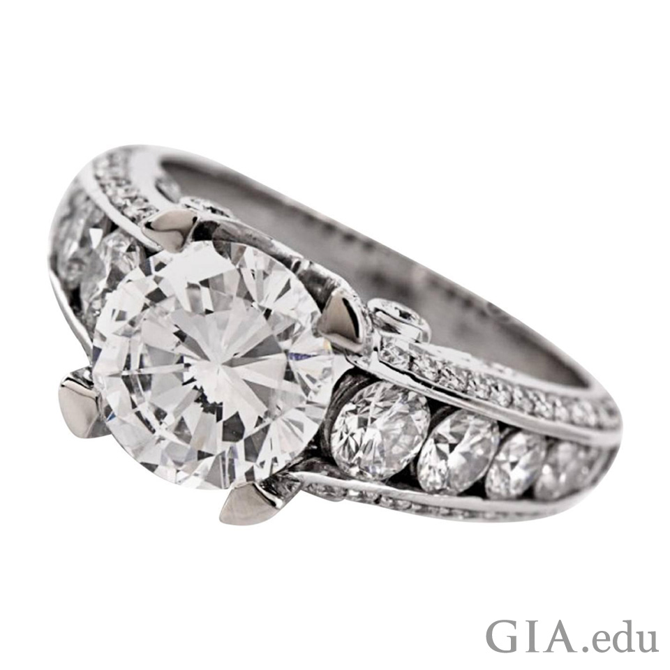 Artful channel setting diamond ring
