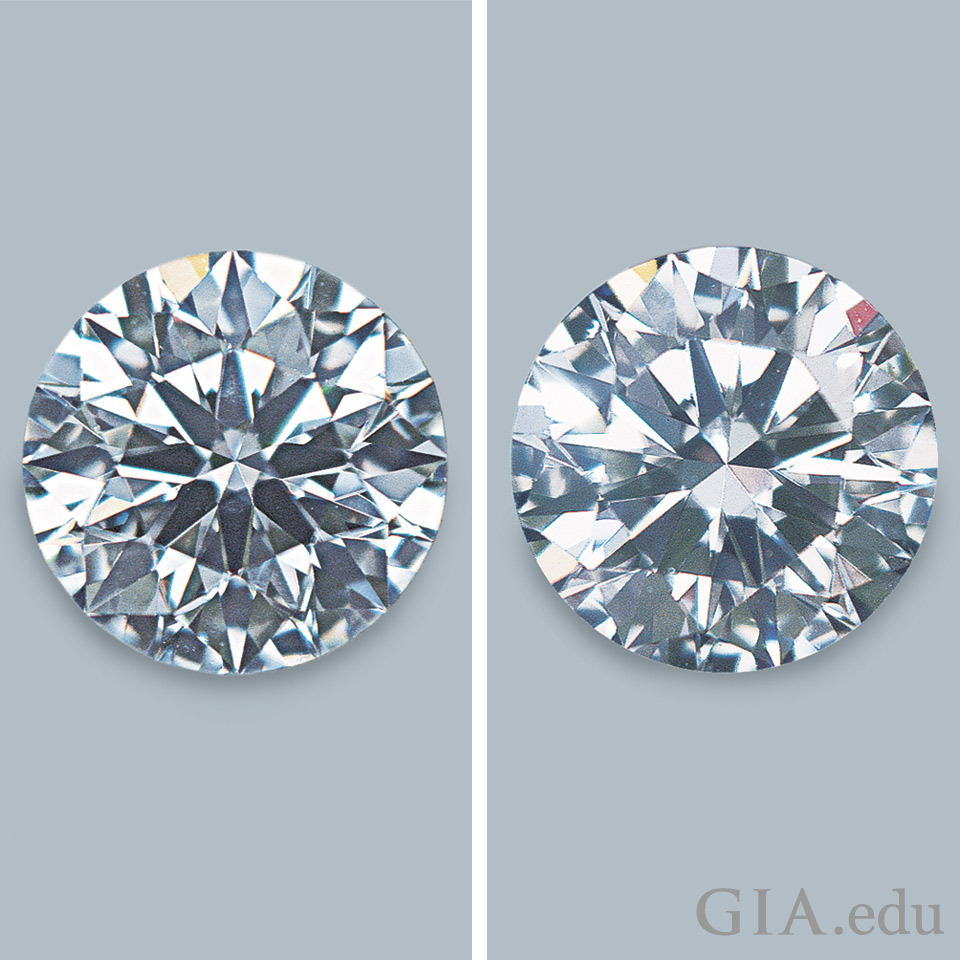 One diamond with more sparkle and scintillation than its counterpart