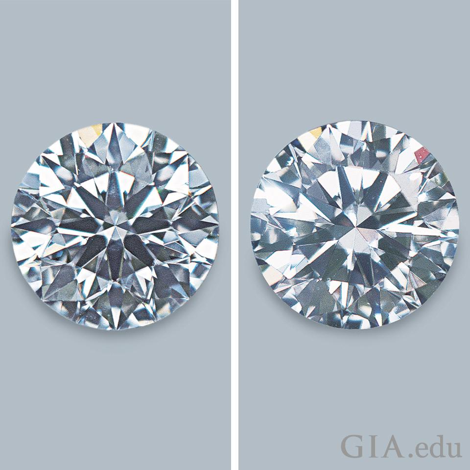 きらめきとシンチレーションがもう片方よりも多いダイヤモンド