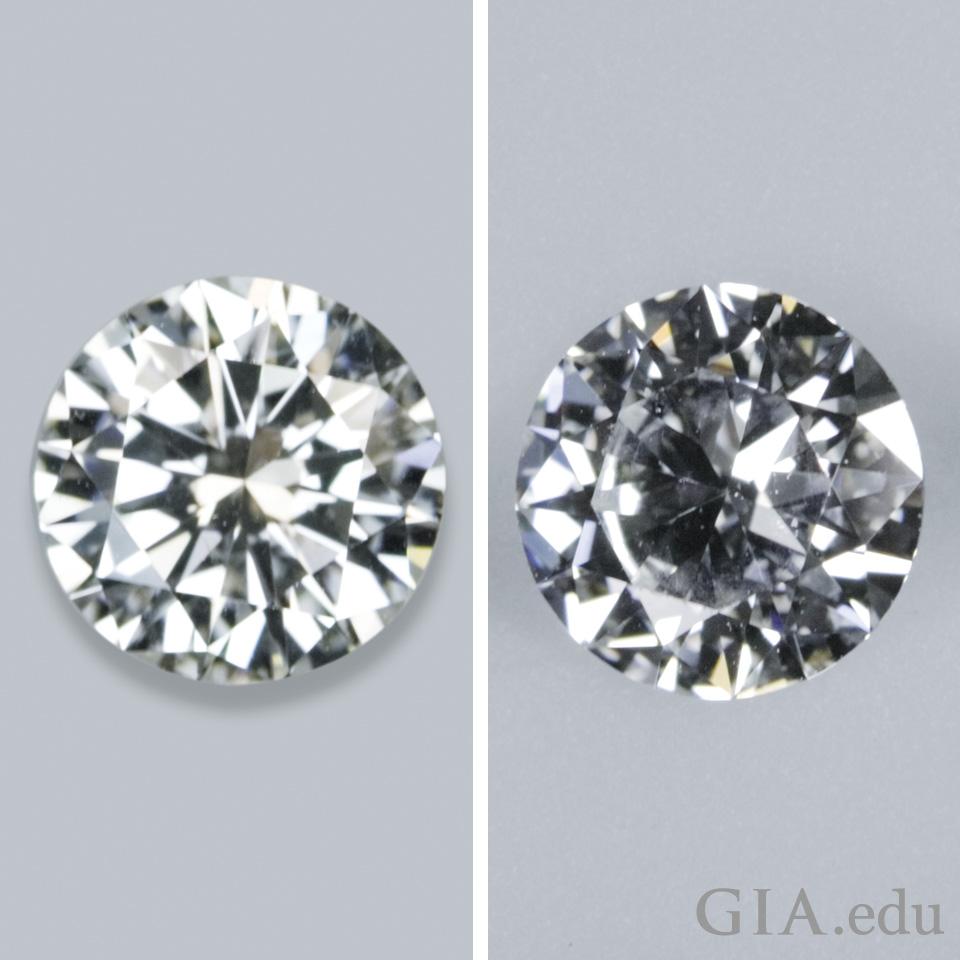 一颗明亮的钻石和一颗暗淡的钻石