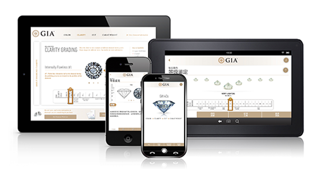 GIA 4Cs App on phone and tablet