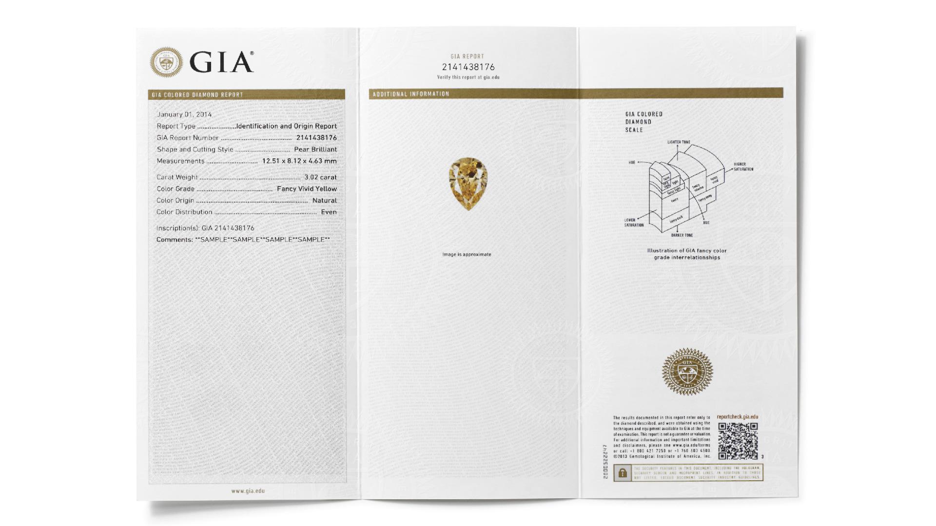 GIAカラーダイヤモンド鑑別及び色の起源レポートは、カラーダイヤモンドのカラーグレードと色の起源について記述する。