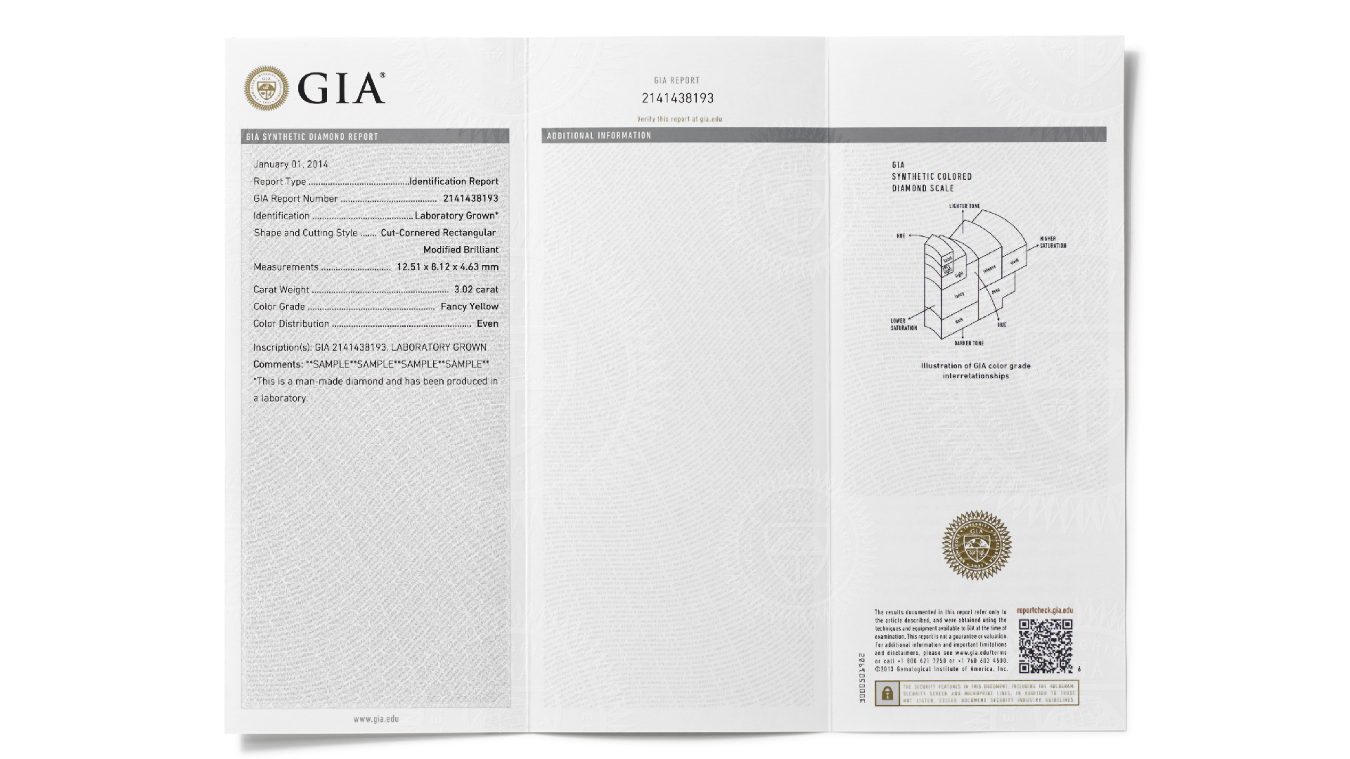 The GIA Synthetic Colored Diamond Report describes a colored synthetic diamond's color grade.