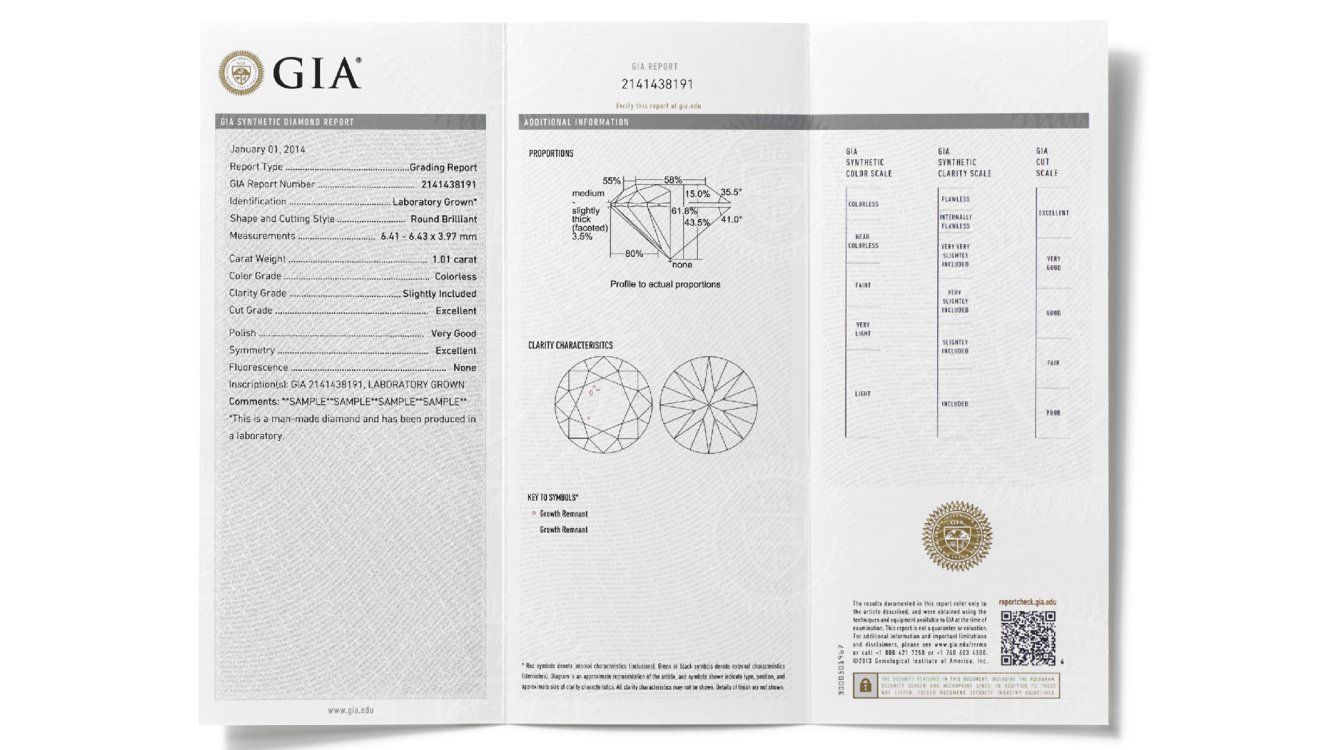 The GIA Synthetic Diamond Grading Report provides the same information as the GIA Diamond Grading Report for natural diamonds, using a more general description of color and clarity with the GIA Synthetic Diamond scales.