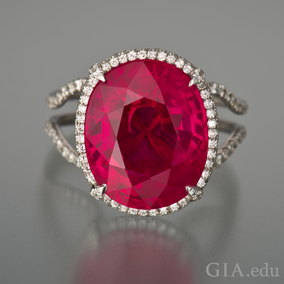 15th wedding anniversary gemstone 11.01 ct oval ruby ring