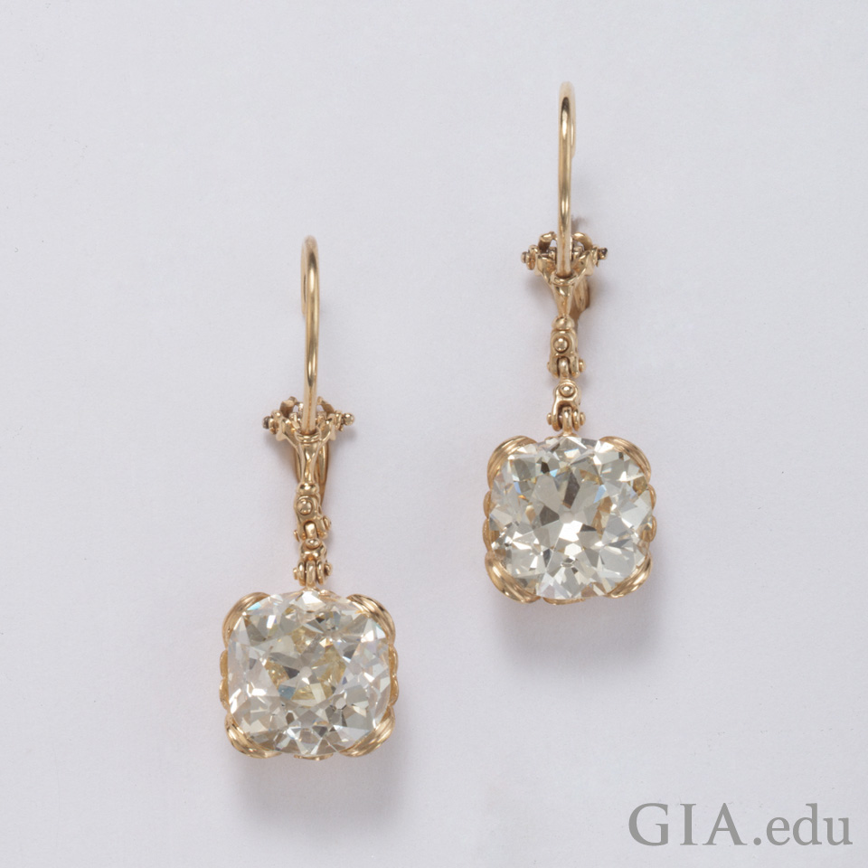 Old mine cut diamond timeless romance 18k gold earrings set with old mine cut diamonds geenschuldenfo Images