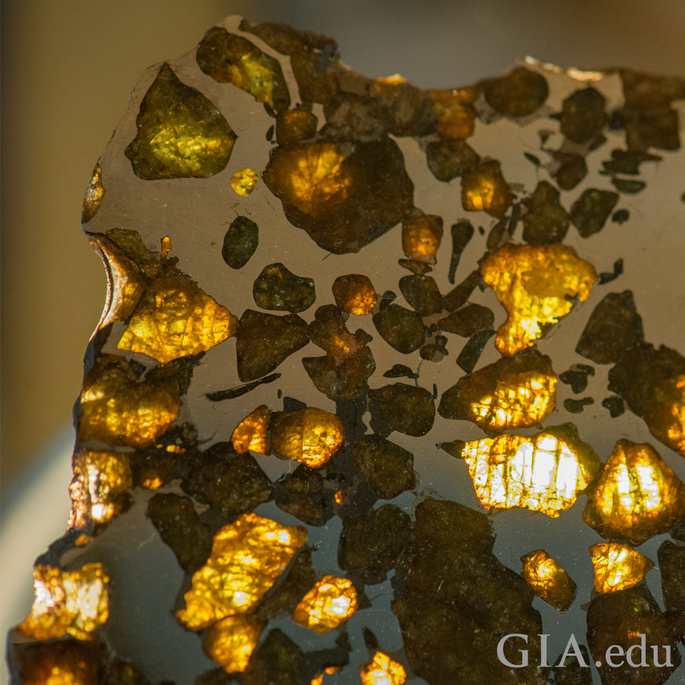 Peridot occuring in pallasite meteorites