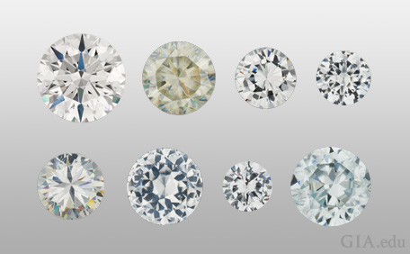 How to tell if a diamond is real: an array of natural diamonds and diamond imitations.