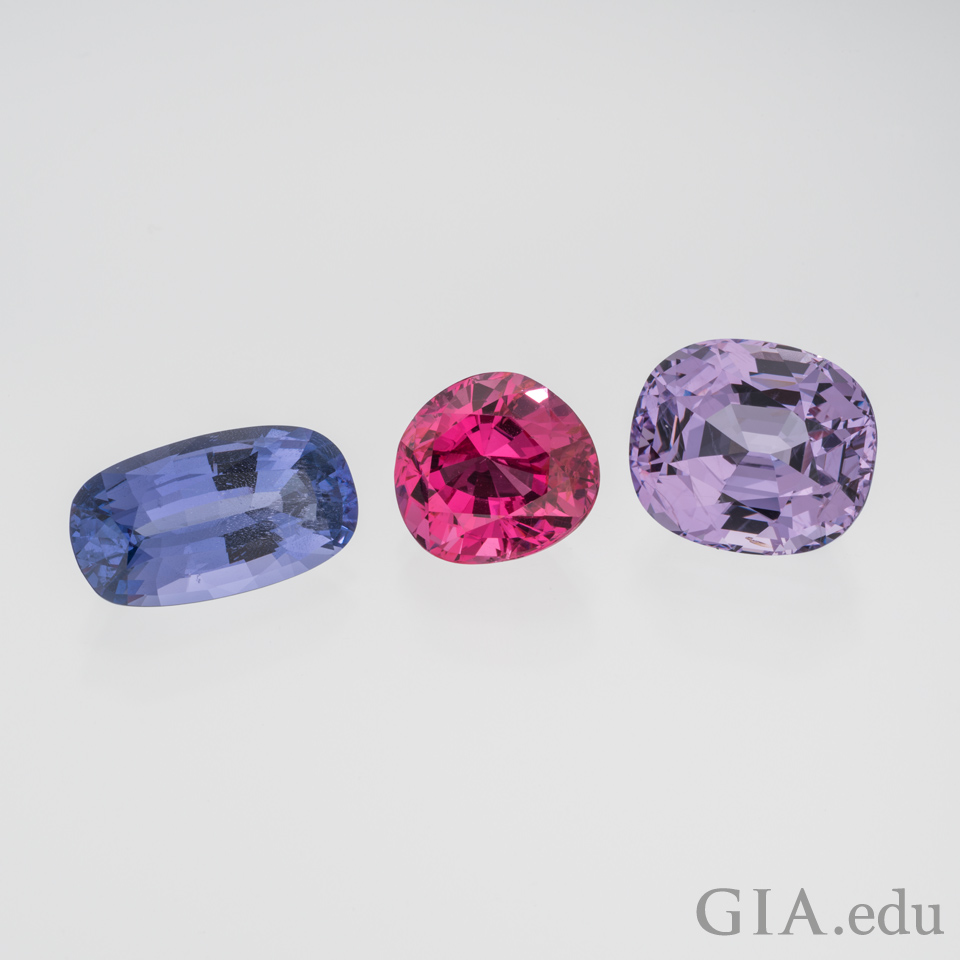 7.16 carat (ct) violet spinel, 7.22 ct pink spinel, and 12.30 ct light purple spinel