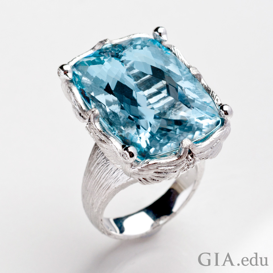 19th wedding anniversary gemstone 32 ct cushion cut ring with an aquamarine from Brazil