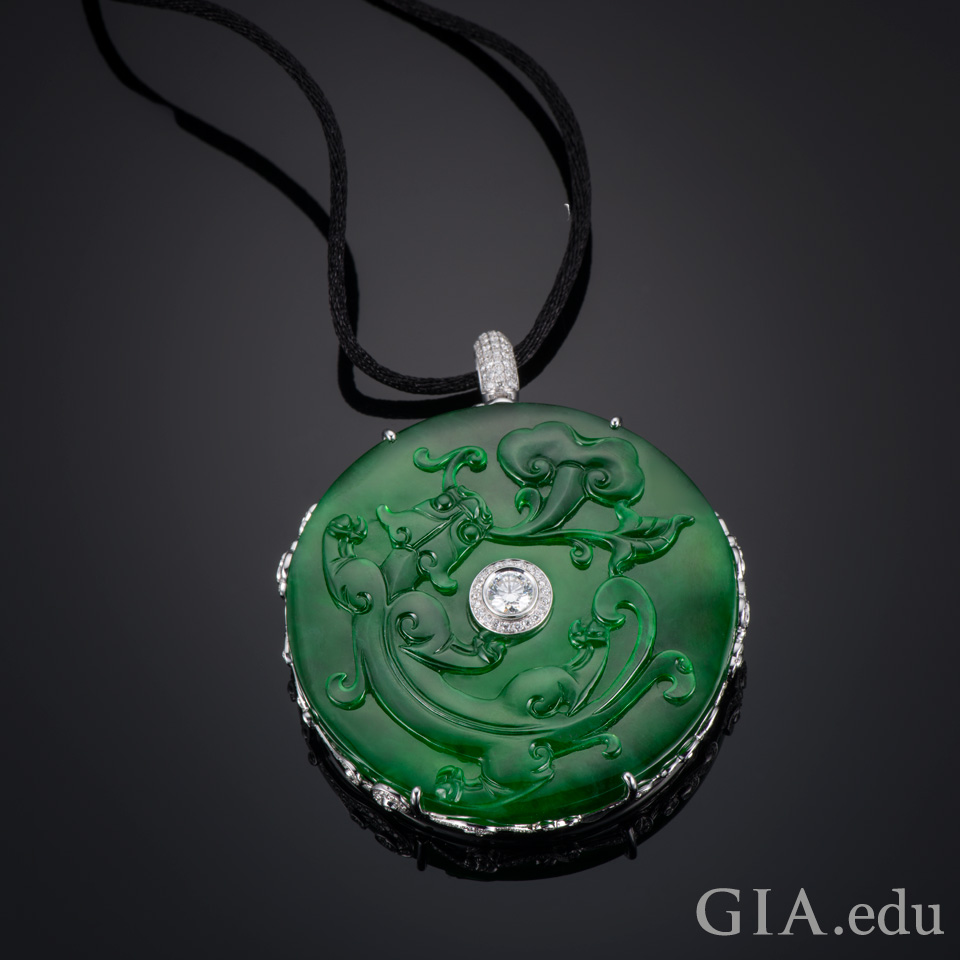 12th wedding anniversary gemstone carved jade pendant