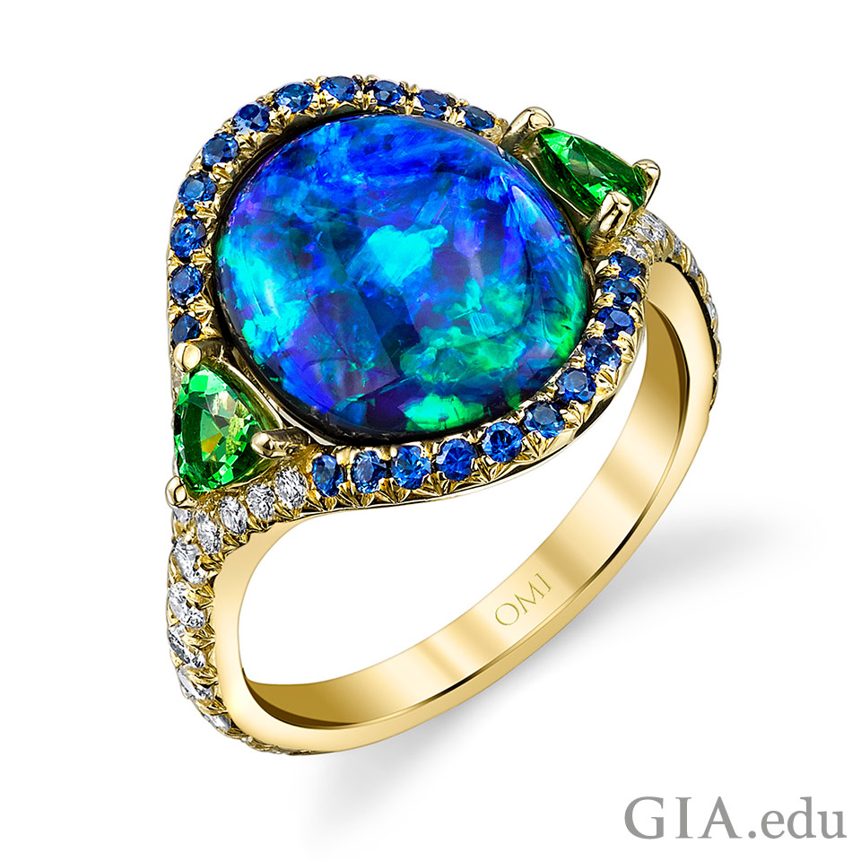 14th wedding anniversary gemstone opal, tsavorite garnet, sapphire and diamond ring