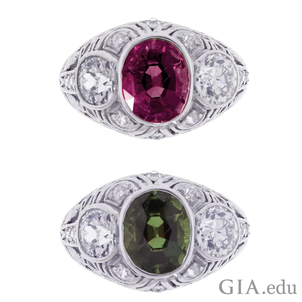 1.83 ct alexandrite on rings