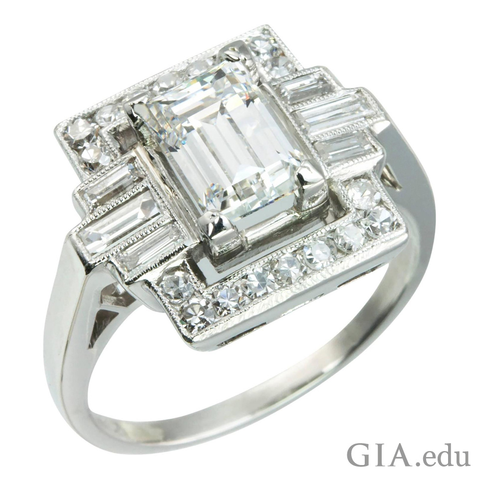 1.37 ct emerald cut diamond center stone with six diamond baguette side stones and 18 single cut diamonds