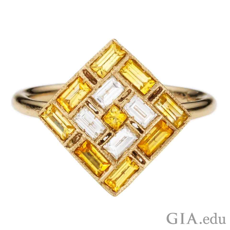 0.16 cts of diamonds and 0.43 ct of yellow sapphire