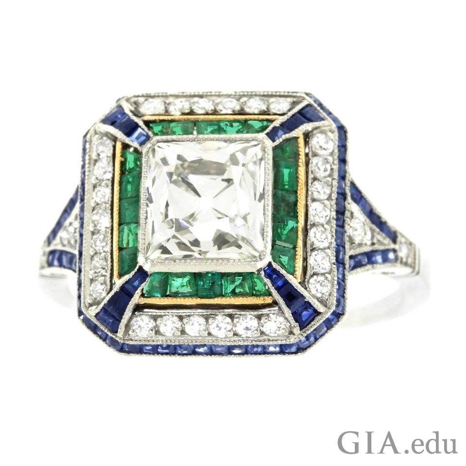 Ring designed with emerald and sapphire
