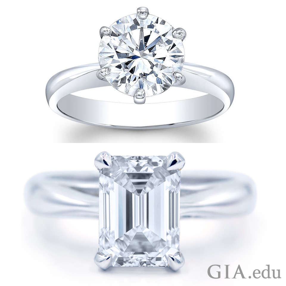 Round brilliant cut natural diamond engagement ring (left) and emerald cut natural diamond engagement ring (right).