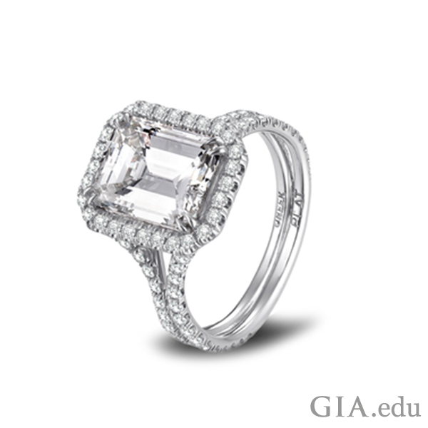 Diamond engagement ring with 3.47 emerald-cut center stone