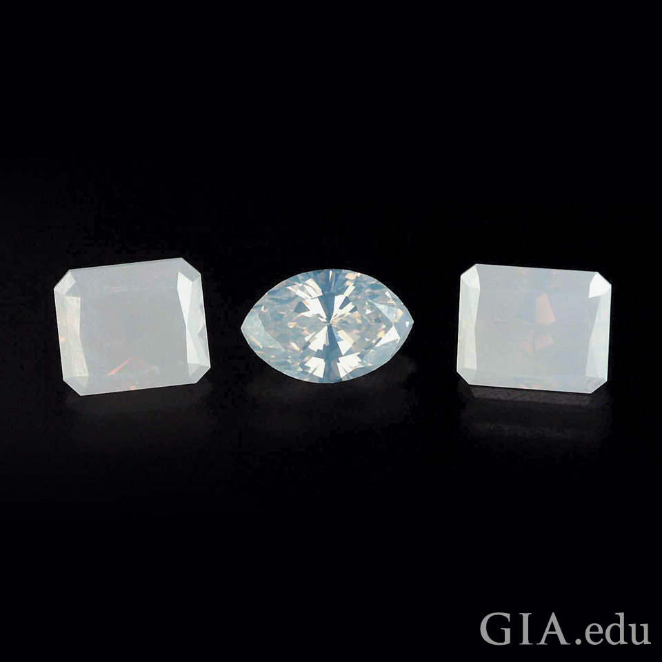 1.08 ct, 0.62 ct, and 1.02 ct Fancy white diamonds