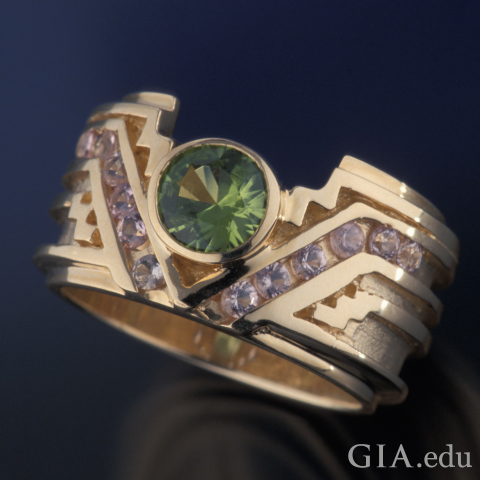 A 0.85 ct peridot featured on a ring jewelry piece