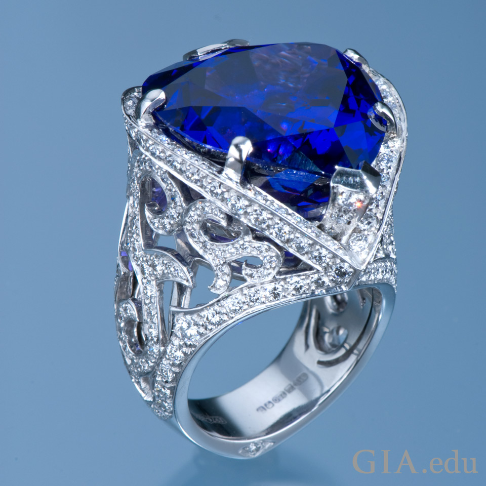 Ring featuring a 29.22 ct tanzanite and 3.07 carats of diamonds
