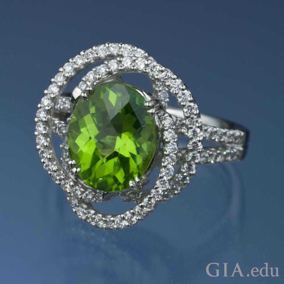 16th Wedding Anniversary Gemstone 3 41 Ct Oval Peridot Ring