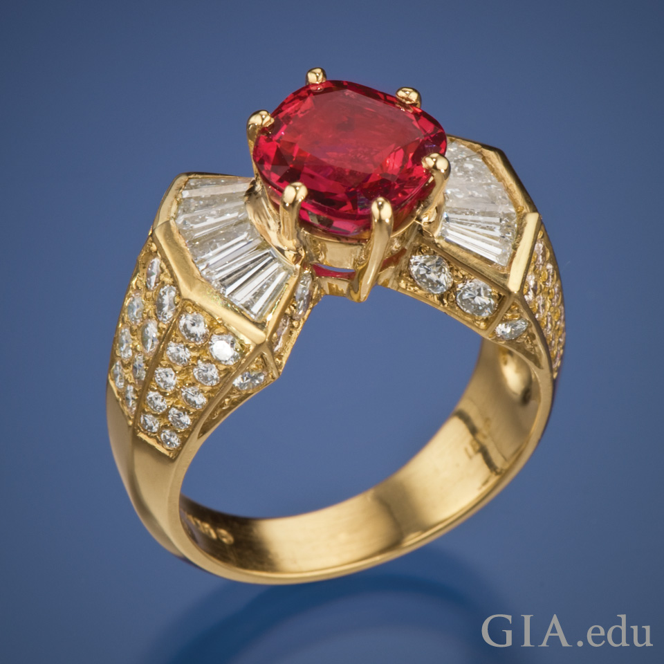 3.18 ct ruby set stone on ring
