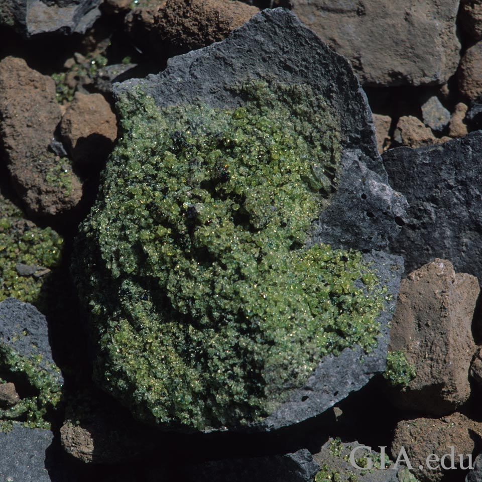 Peridot-covered basalt