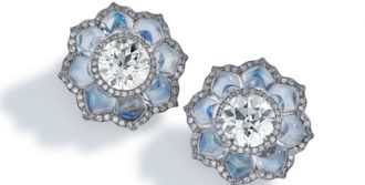 Diamond and moonstone flower earrings