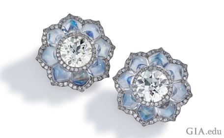 Diamond and moonstone flower earrings