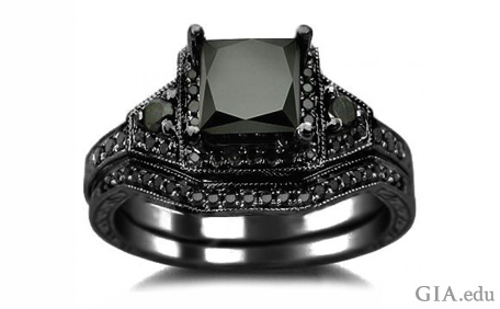 A 2.01 ct princess cut black diamond set in 14K blackened gold