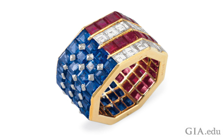 Octagonal shape ring with square-cut sapphires, rubies and diamonds