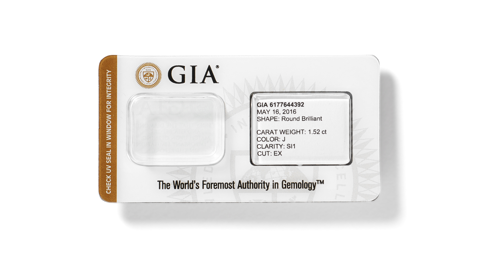 GIA 钻石密封服务的样品 — 前部附有关键分级详情的安全的防篡改密封包装。