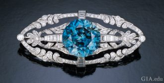 Stunning blue zircon brooch.