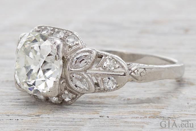 1.80 ct old mine cut diamond Edwardian engagement ring