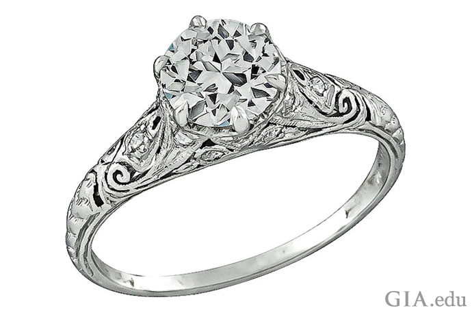 0.91 ct antique engagement ring adorned with rich scrollwork