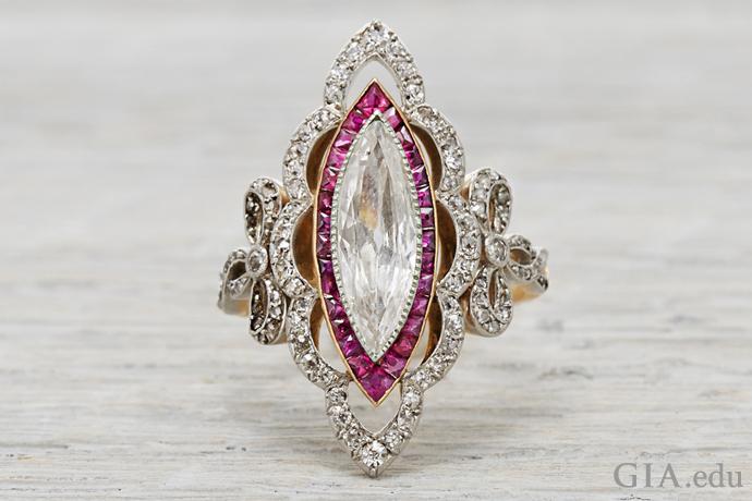 A 0.80 carat (ct) marquise cut diamond